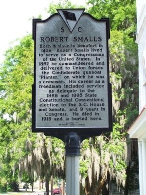 Robert Smalls Marker, upgraded to present day Black on Silver image. Click for full size.