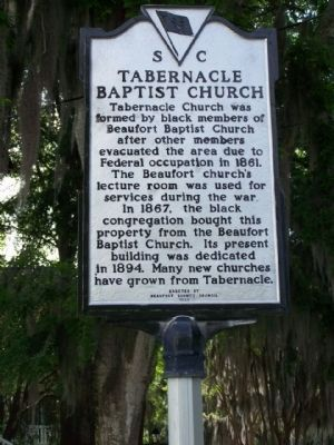 Tabernacle Baptist Church Marker, redone with present Black and Silver paint scheme image. Click for full size.