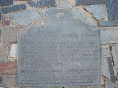 Lang Southern Pacific Station Marker image. Click for full size.