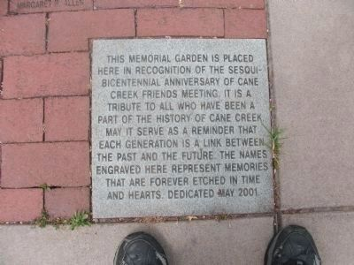 Cane Creek Meeting - Memorial Garden Marker image. Click for full size.