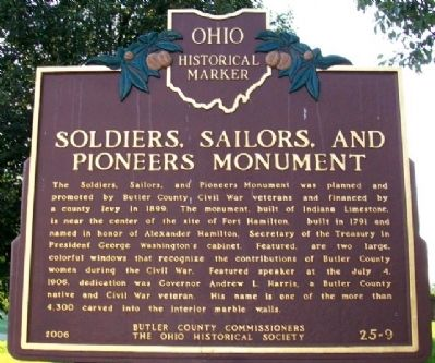 Soldiers, Sailors, and Pioneers Monument Marker (Side A) image. Click for full size.