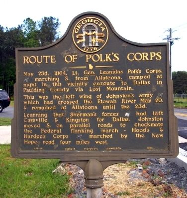 Route of Polk's Corps Marker image. Click for full size.