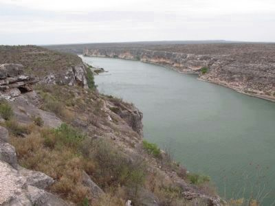 View from marker down canyon to where Pecos meets the Rio Grande image. Click for full size.