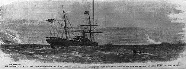 Star of the West approaching Fort Sumter image. Click for full size.