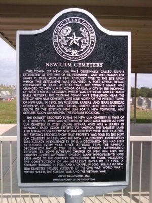 New Ulm Cemetery Marker image. Click for full size.
