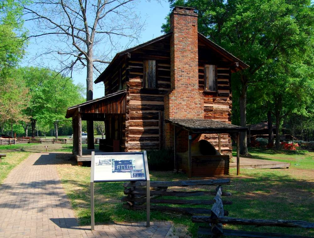 Logan Log House and Marker