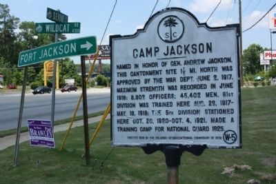 Camp Jackson Marker, at Devine Street (US 76/378) and Wildcat Road image. Click for full size.