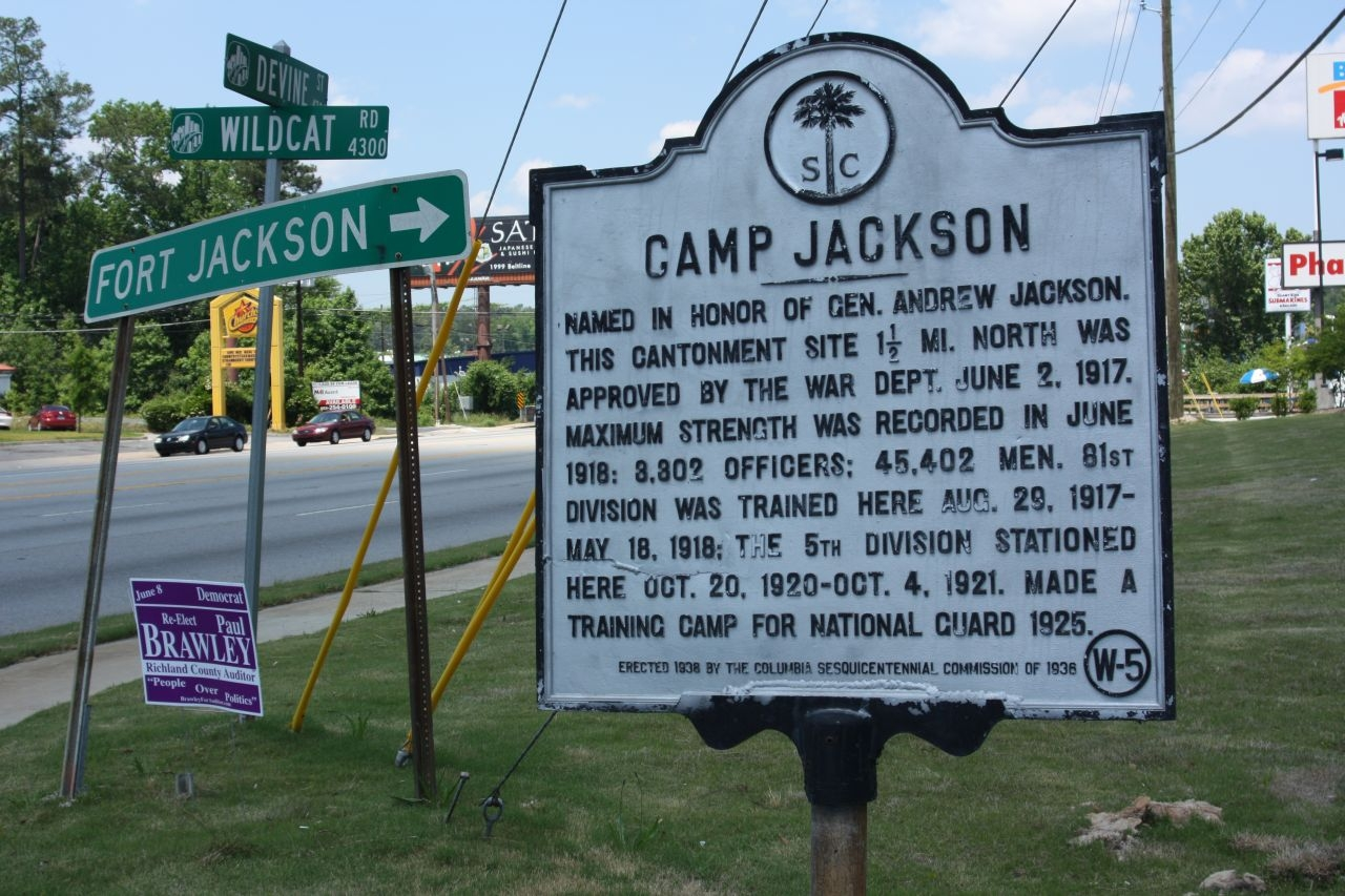 Camp Jackson Marker, at Devine Street (US 76/378) and Wildcat Road