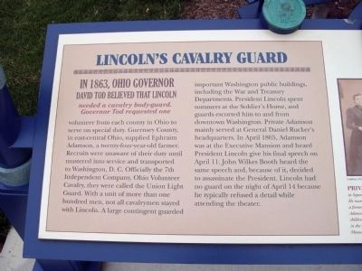 Left Section - - Lincoln's Cavalry Guard Marker image. Click for full size.
