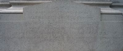 Nathanael Greene Monument - inscription, south face of base image. Click for full size.