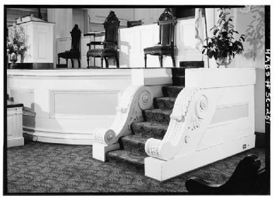 First Baptist Church Marker, original pulpit, steps, and carved wood consoles (choir rail 1941) image. Click for full size.