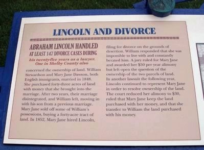 Lincoln and Divorce Marker - Left Section image. Click for full size.