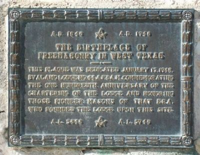 The Birthplace of Freemasonry in West Texas Marker image. Click for full size.
