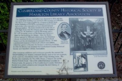 Cumberland County Historical Society & Hamilton Library Association Marker image. Click for full size.