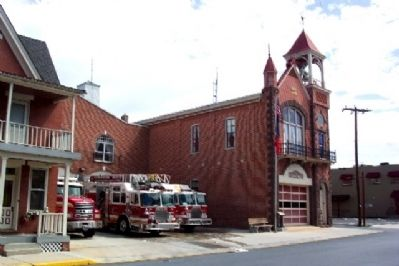 The Union Fire Company Station and Marker image. Click for full size.