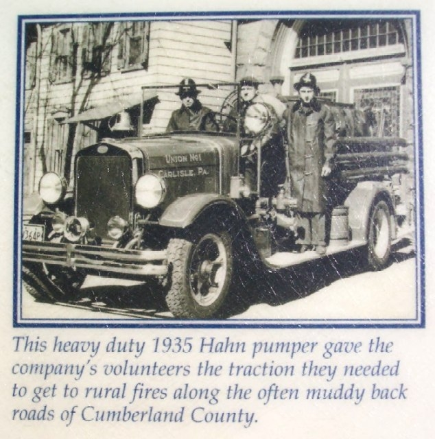 Union Fire Co 1935 Hahn Pumper Pic on Marker
