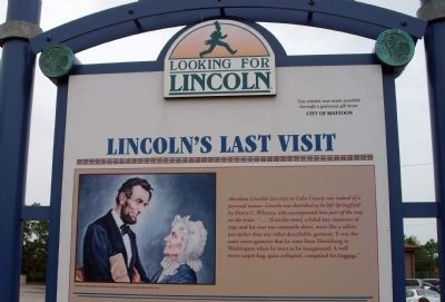 Top Section (Side One) - - Lincoln's Last Visit / The Debaters in Mattoon Marker image. Click for full size.