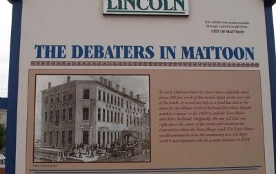 Top Section (Side Two) - - Lincoln's Last Visit / The Debaters in Mattoon Marker image. Click for full size.