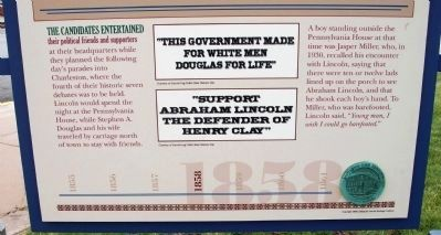 Lower Section (Side Two) - - Lincoln's Last Visit / The Debaters in Mattoon Marker image. Click for full size.