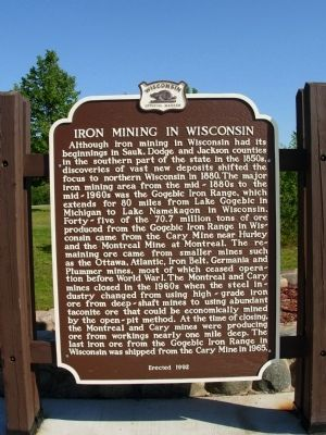 Iron Mining in Wisconsin Marker image. Click for full size.