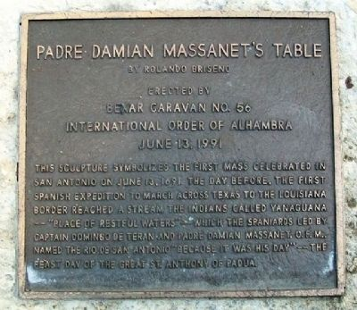 Padre Damian Massanet's Table Marker image. Click for full size.