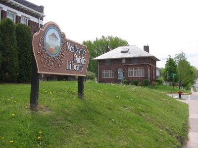 Neillsvile Public Library Sign image. Click for full size.