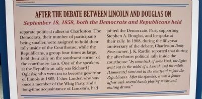 Middle Section (Side One) - - Rally After the Debate / Lincoln in Coles County Marker image. Click for full size.