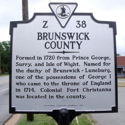 Brunswick County Marker (reverse) image. Click for full size.