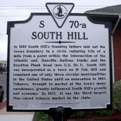 South Hill Marker image. Click for full size.