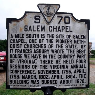 Salem Chapel Marker image. Click for full size.