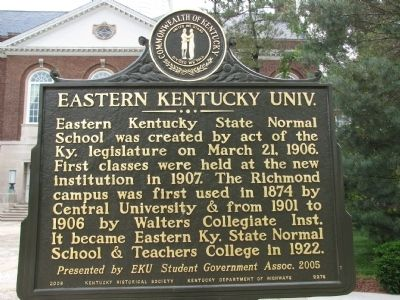Eastern Kentucky Univ. Marker image. Click for full size.