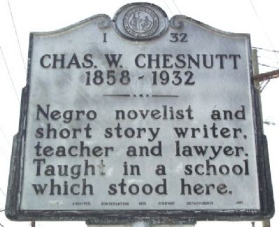 Chas. W. Chesnutt Marker image. Click for full size.