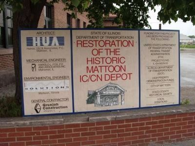 """Restoration Project - Sign"" - -Mattoon Depot image. Click for full size."