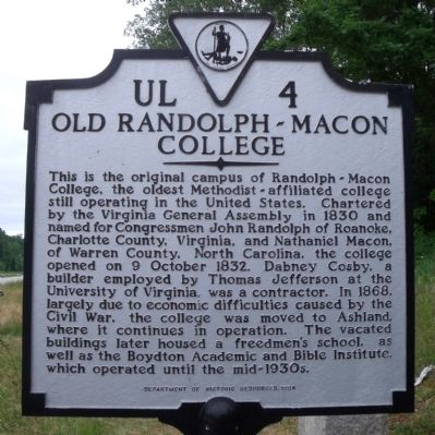 Old Randolph-Macon College Marker image. Click for full size.