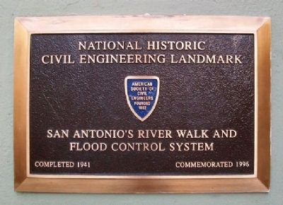 San Antonio's River Walk and Flood Control System Marker image. Click for full size.