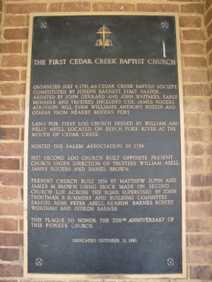 The First Cedar Creek Baptist Church Marker image. Click for full size.