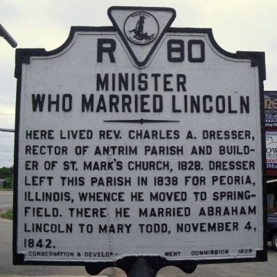 Minister Who Married Lincoln Marker image. Click for full size.