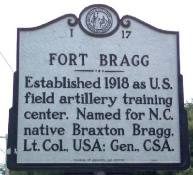 Fort Bragg Marker image. Click for full size.