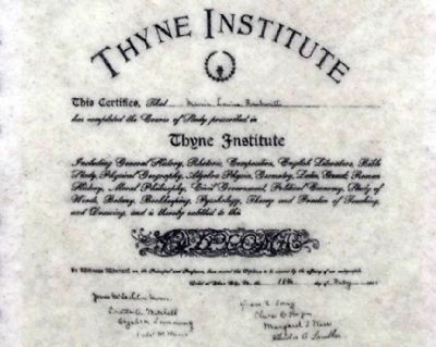 Thyne Institute Diploma issued in 1900 image. Click for full size.