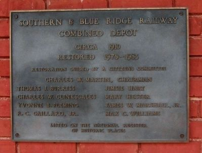 Southern & Blue Ridge Railway<br>Combined Depot Marker image. Click for full size.