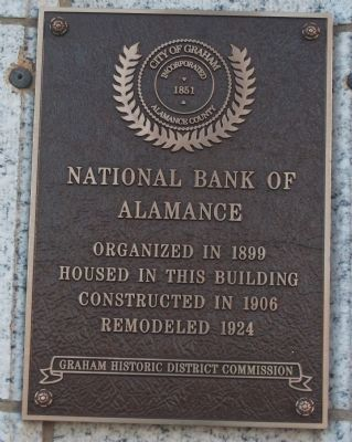 National Bank of Alamance Marker image. Click for full size.