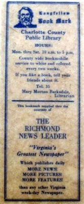 Charlotte County Library bookmark, c.1938 image. Click for full size.