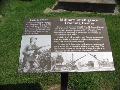 Military Intelligence Training Center Marker image. Click for full size.