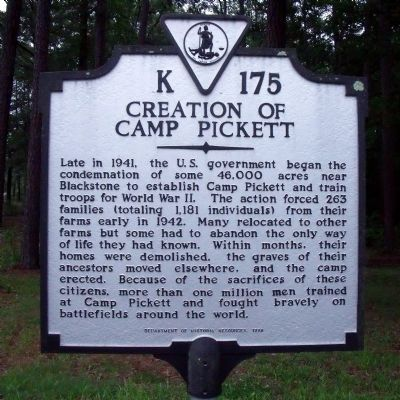 Creation of Camp Pickett Marker image. Click for full size.