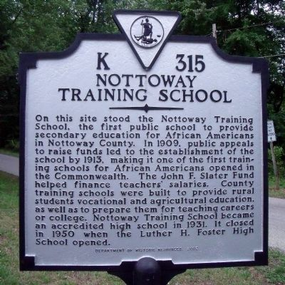 Nottoway Training School Marker image. Click for full size.