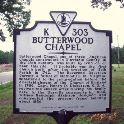 Butterwood Chapel Marker image. Click for full size.