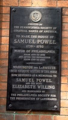 The House of Samuel Powel Marker image. Click for full size.