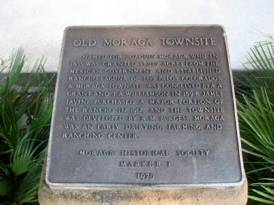 Old Moraga Townsite Marker image. Click for full size.