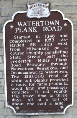 Watertown Plank Road Marker image. Click for full size.