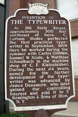 Invention of the Typewriter Marker image. Click for full size.